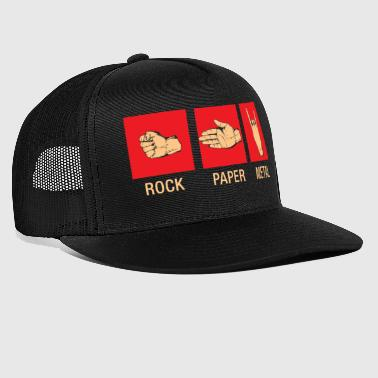 Rock Paper Metal - Scissors Stone Metal Shirt - Trucker Cap