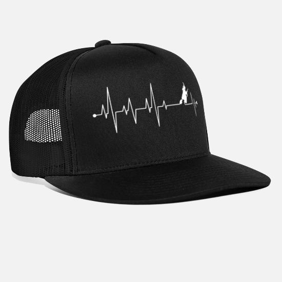 Witches Broom Caps & Hats - Witch Heartbeat - Trucker Cap black/black