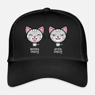 Party Cat - Before Party - After Party - Gray Font - Trucker Cap