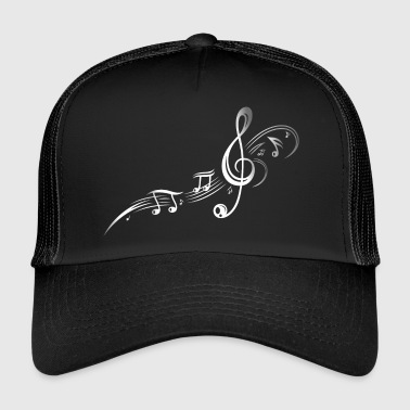 Music, clef with stars and music notes. Silver. - Trucker Cap