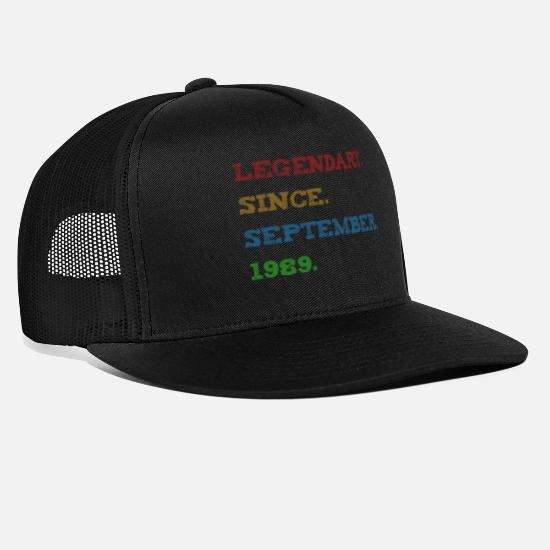 Birthday Caps & Hats - Legendary Since September 1989 30th birthday - Trucker Cap black/black