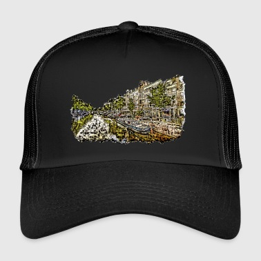 Canal Amsterdam - drawing of a canal with houses - Trucker Cap