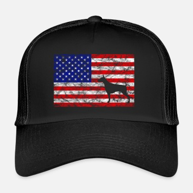 Doberman Pinscher USA Flag - Doberman | for masters and mistresses - Trucker Cap