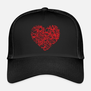 Heart Line Heart of lines | Line heart dash red love - Trucker Cap