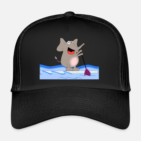 Animal Caps & Hats - Sporty Elephant - Paddle Surf - Trucker Cap black/black