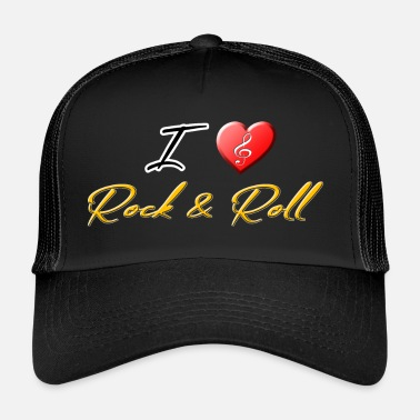 Rock N Roll Amo Rock & Roll clef Cuore - Cappello trucker