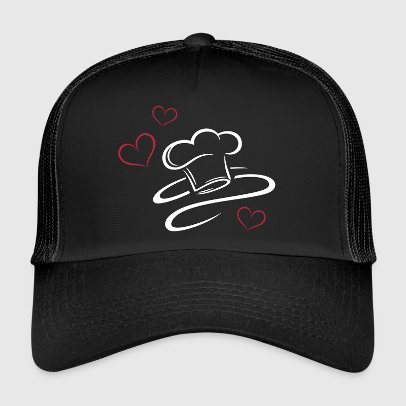 Cook, logo, chef hat with three hearts. - Trucker Cap