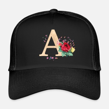 Initial Letter initial letter A initials roses - Trucker Cap