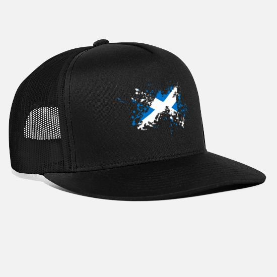Scotland Caps & Hats - Scotland flag blob - Trucker Cap black/black