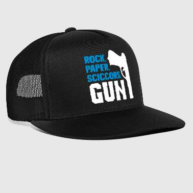 Funny rock paper scissors and gun - Trucker Cap