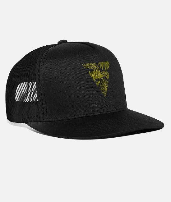 Nature Caps & Hats - Monstera, triangle, leaves, jungle, summer - Trucker Cap black/black