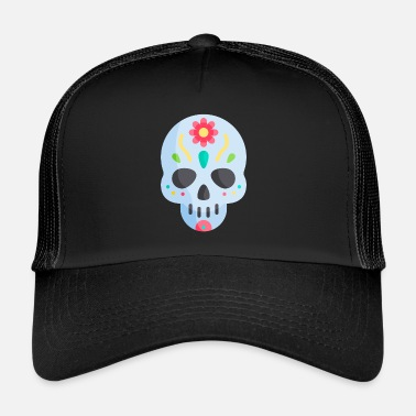 Calavera de Azúcar Mexicana Cráneo Cultura Mexicana - Gorra trucker b3ac58617cc