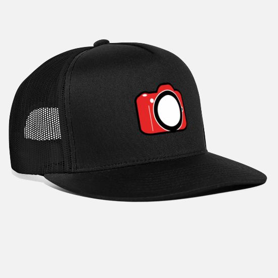 Gift Idea Caps & Hats - Red SLR camera DSL photography gift - Trucker Cap black/black
