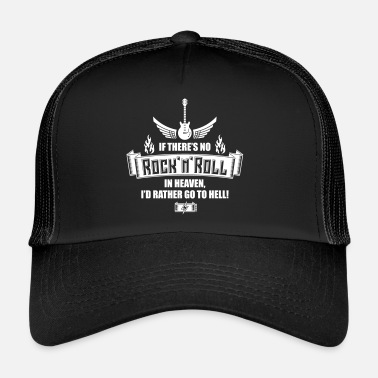 Hell &amp No Rock 'n' Roll In Heaven, I Go To Hell! (SVG) - Trucker Cap