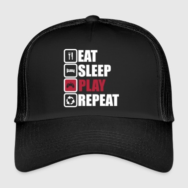 eat sleep play repeat,geek,gamer,gaming,nerd - Trucker Cap