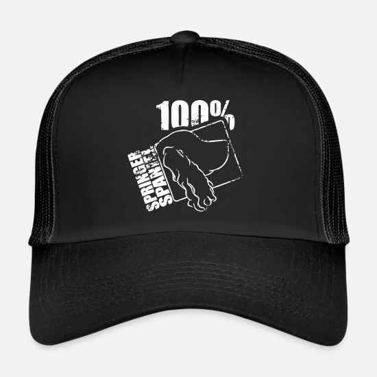 Dog Owner Caps & Hats - SPRINGER SPANIEL 100 - Trucker Cap black/black
