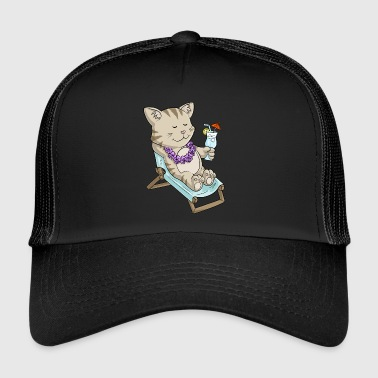 Sunbathing comic cat - Trucker Cap