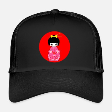 Kimono Kimono girl Japan japanese japanese pink red - Trucker Cap