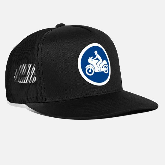 Quad Caps & Hats - motorcycle motorbike motorcycle traffic sign traffic - Trucker Cap black/black