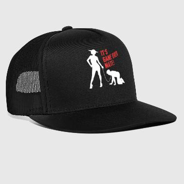 Funny Grunge Game Over Mate Stag Night Party - Trucker Cap