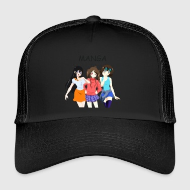 Anime Group 3 Girls, Text Manga - Trucker Cap