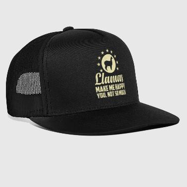 Funny Llamas Make Me Happy T-paita - Trucker Cap