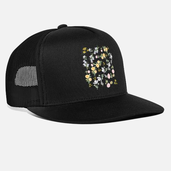 Spring Caps & Hats - Vintage watercolour flowers - Trucker Cap black/black