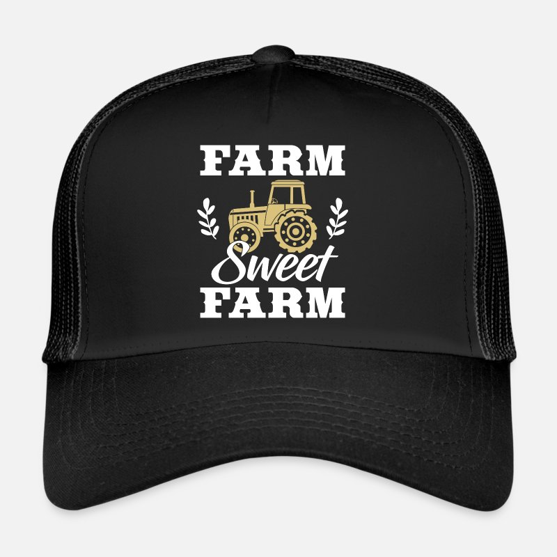 Farm Caps & Hats - Farm Sweet Farm - Trucker Cap black/black