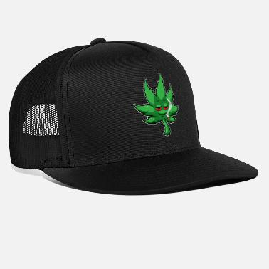 Smoking Cannabis Leaf With Red Eyes Smokes Weed - THC CBD - Trucker Cap