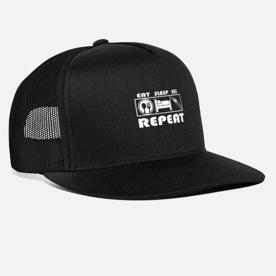 Sports Cappelli & Berretti - Eat Sleep Ski Repeat - Skiing - Cappello trucker nero/nero