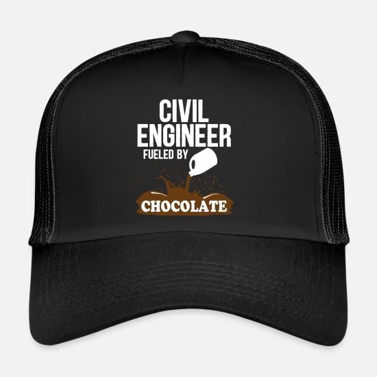 Civil Engineering Caps & Hats - Bauingenier witty saying chocolate gift - Trucker Cap black/black
