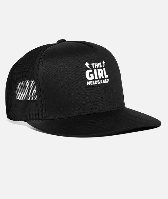 Lazy Caps & Hats - This Girl Needs a Nap Nap Sleeping Tired - Trucker Cap black/black