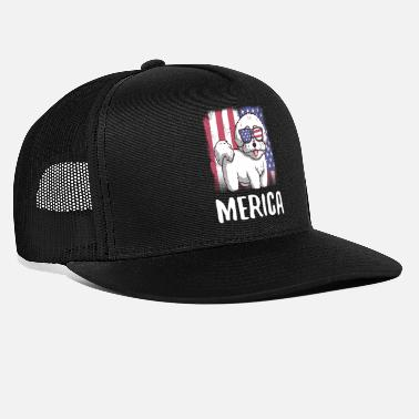 Strip Merica Bichon Frise Dog USA Amerikanische Flagge - Trucker Cap