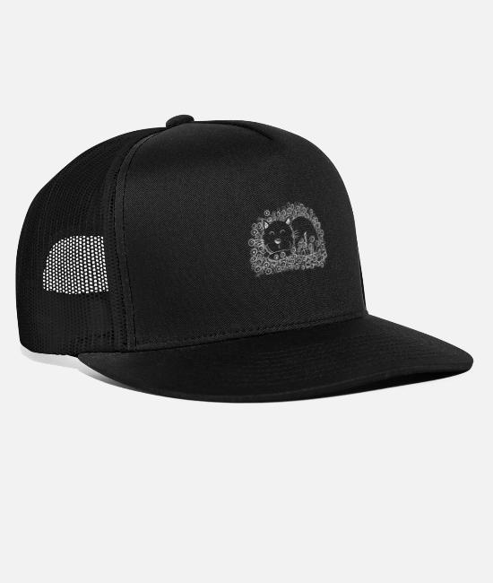 Animal Caps & Hats - Cat with flowers i cat friend gift i cat - Trucker Cap black/black