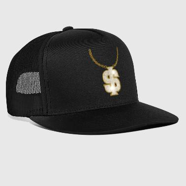 Oldschool Gold Rapper Dollar Chain - Trucker Cap