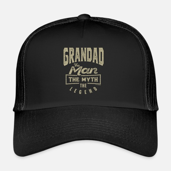 Father's Day Caps & Hats - Grandad The Legend - Trucker Cap black/black