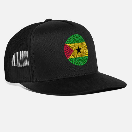 Love Caps & Hats - SAO TOME PRINCIPE Love HEART Mandala - Trucker Cap black/black