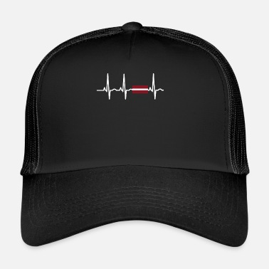 Latvia EKG heartbeat Latvia - Trucker Cap
