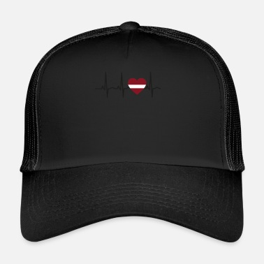 Latvia I LOVE ekg heartbeat Latvia Latvia - Trucker Cap