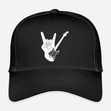 Horns Heavy metal electric guitar with devil horns characters - Trucker Cap