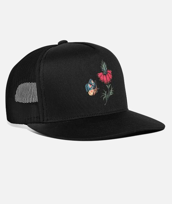 Red Caps & Hats - Flying butterfly with flowers - Trucker Cap black/black
