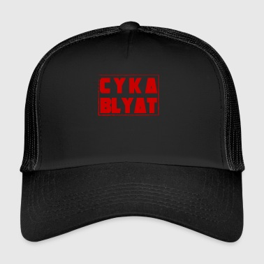 CYKA BLYAT RUSSIAN RED GAMING MOTIF FUNNY WM - Trucker Cap