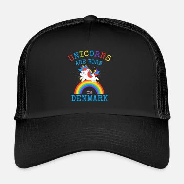Danish Unicorns are born in Denmark.Funny Danish Unicorn - Trucker Cap
