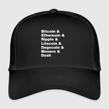 Bitcoin & Ethereum & Ripple Cryptocurrency Coins - Trucker Cap