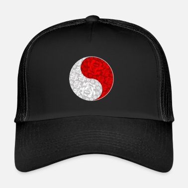 Dragon Chinois Yin et Yang Roses chinois et rouge symbole chinois - Trucker Cap