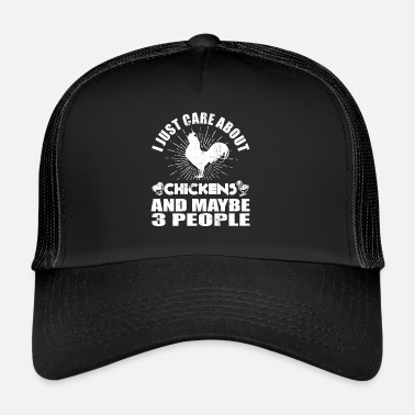 Biologische I Just Care About Kippen en 3 People - Trucker Cap