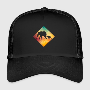 I Love Retro Elephant Lover Retro Vintage - Trucker Cap