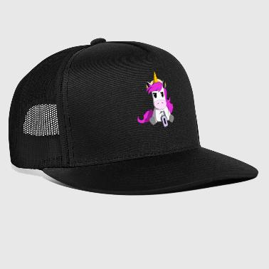 Unicorn angry over empty battery - Trucker Cap