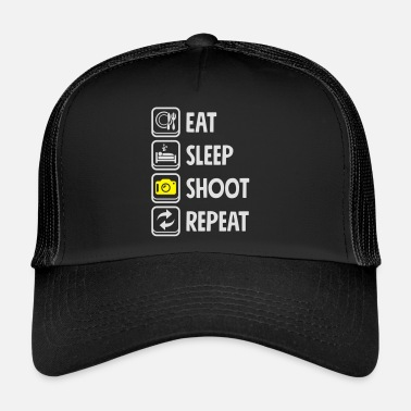 Fotomontaje Cámara de fotos repetidas Eat Sleep Shoot - Gorra trucker