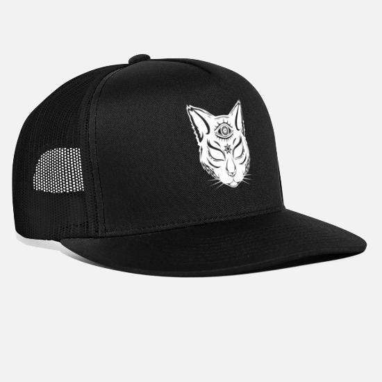 Cats And Dogs Collection Caps & Hats - Cat with the third eye - above-ground - Trucker Cap black/black